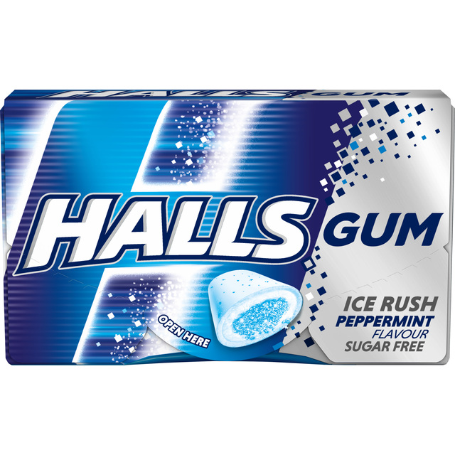 HALLS GUMM PEPPERMINT 18G